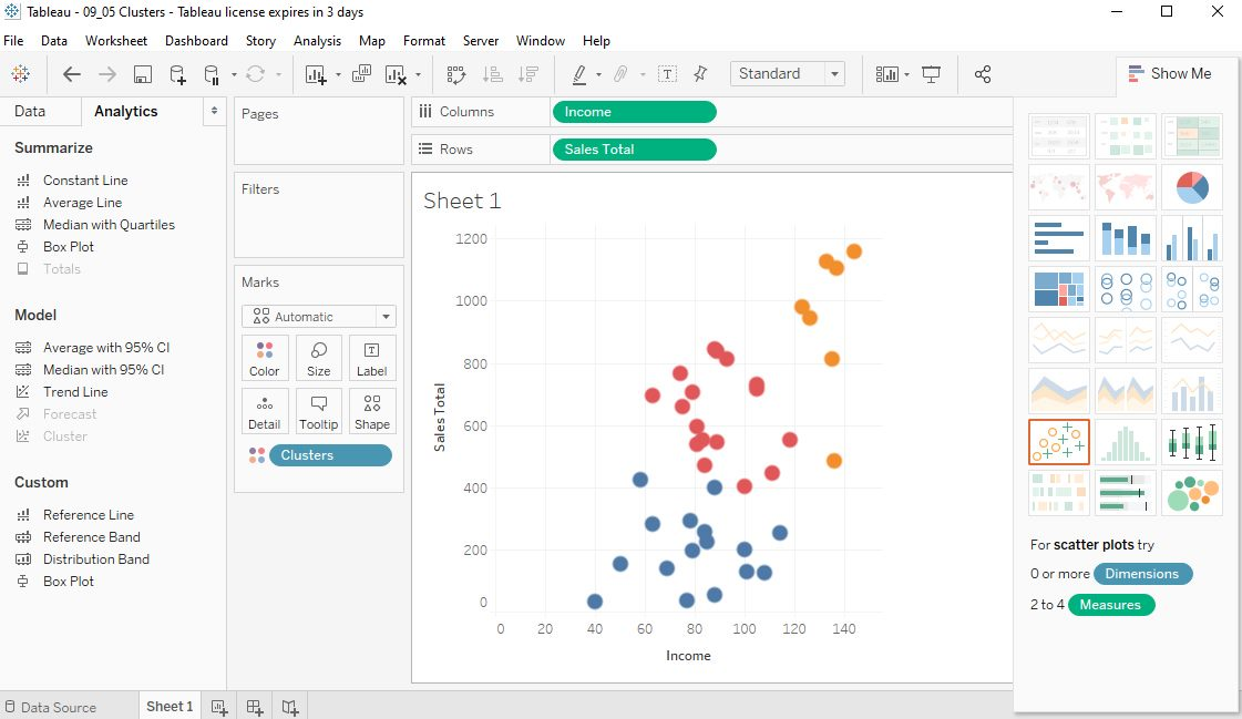 Tableau Data clusters in Scatter plots Step 4